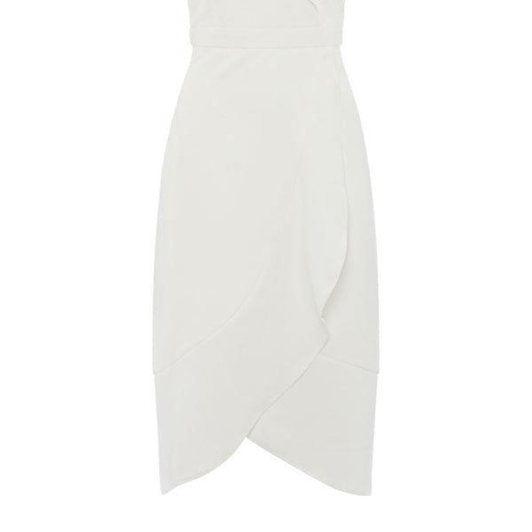 Bardot Strappy fit and flare ruffle dress- White