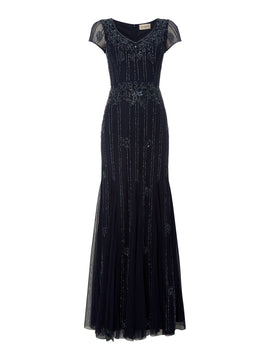 Lace and Beads V neck cap sleeve beaded gown- Blue