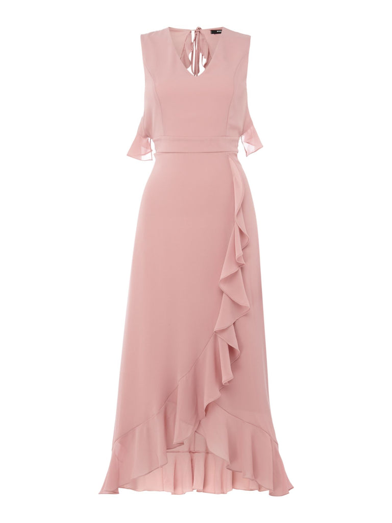 tfnc V neck ruffle detail open back dress- Pink