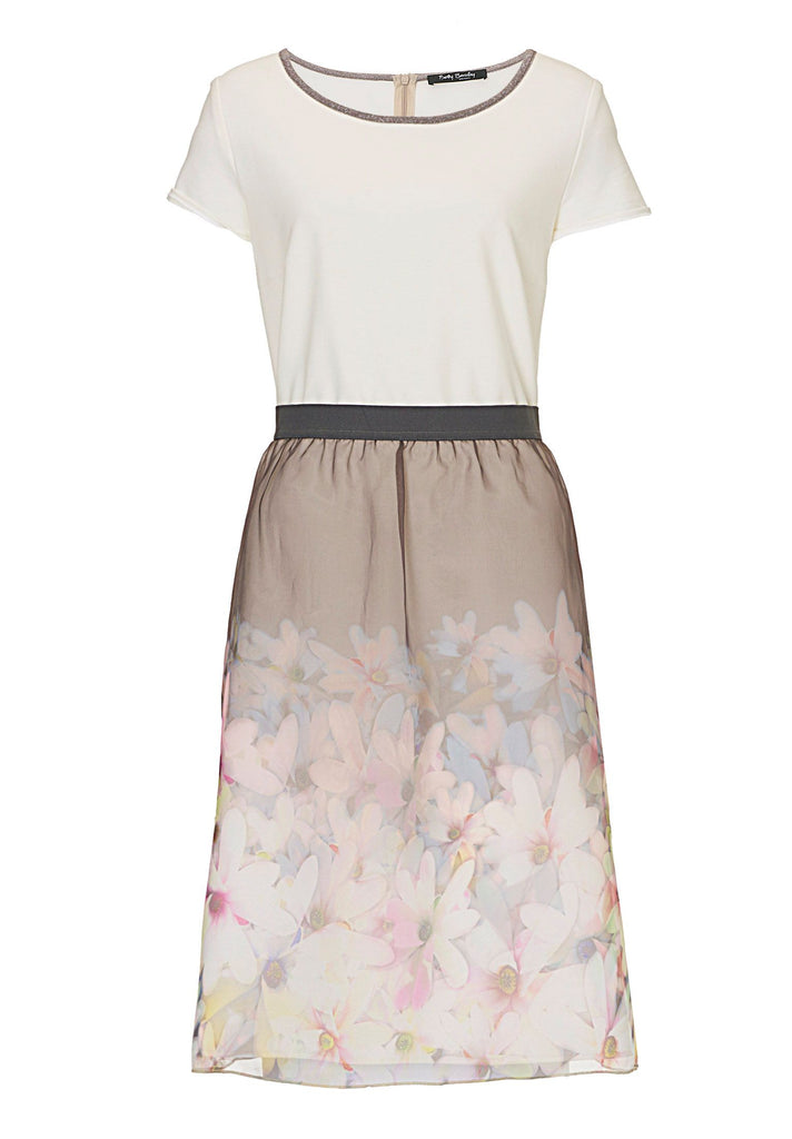 Betty Barclay Dress with floral layered skirt- Multi-Coloured