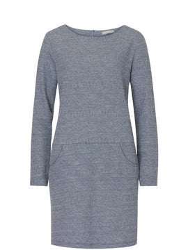 Betty Barclay Woven long sleeved dress- Blue