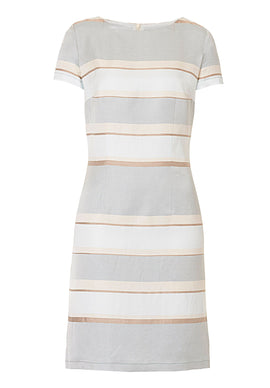 Betty Barclay Striped satin shift dress- Blue