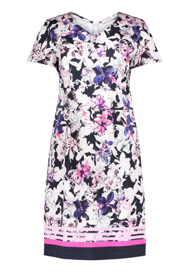 Betty Barclay Floral Print Cotton Dress- Multi-Coloured