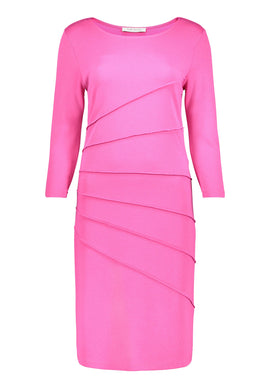 Betty Barclay Three-Quarter Sleeve Jersey Dress- Pink