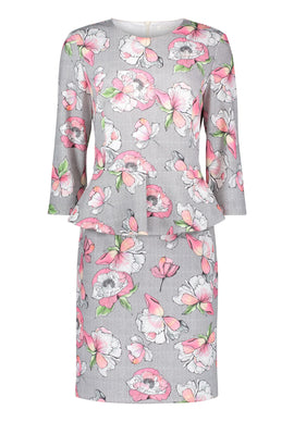 Betty & Co. Floral Print Peplum Dress- Multi-Coloured