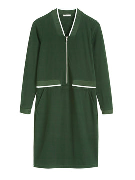 Sandwich Sport Lux Jersey Dress With Front Zip Fastening- Avocado