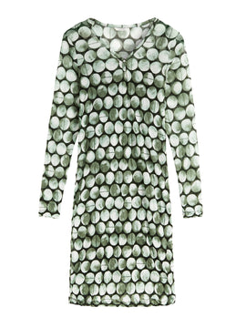 Sandwich Printed Crinkled Mesh Dress- Avocado