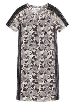Sandwich Flower Print Mesh Dress- Grey