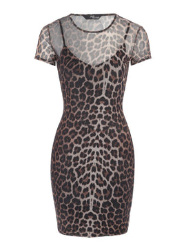 Jane Norman Animal Print Mesh Dress- Multi-Coloured