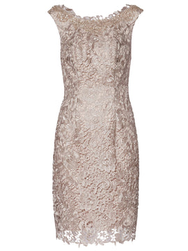 Gina Bacconi Libby Lace Dress And Scarf- White
