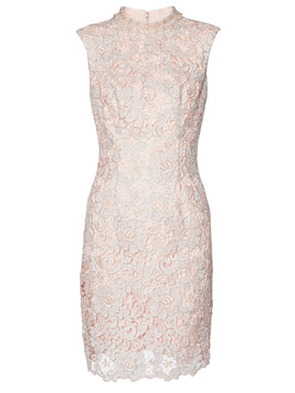 Gina Bacconi Juno Lace Dress And Chiffon Scarf- Pink