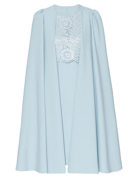 Gina Bacconi Jolene Crepe And Lace Dress With Cape- Blue
