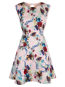 Yumi Winter Floral Print Cap Sleeve Dress- Pink
