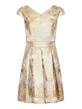 Yumi Gold Foil Print Party Dres- Yellow