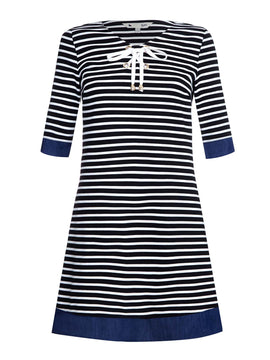 Yumi Stripe Ponte Chambray Tunic Dress- Blue
