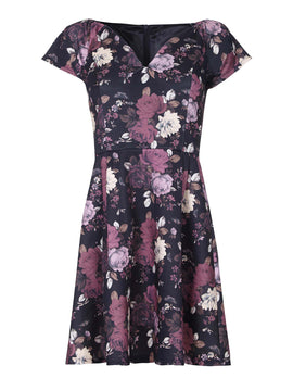 Yumi Floral Print Bardot Party Dress- Multi-Coloured