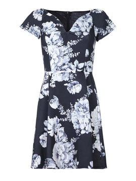 Yumi Floral Print Bardot Party Dress- Black