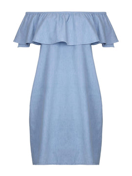 Yumi Bardot Dress- Blue