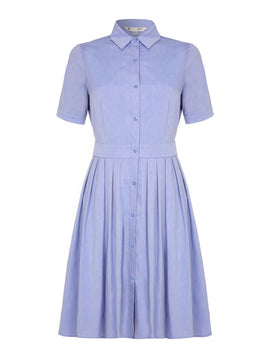 Yumi Yumi Pleat Short Sleeve Shirt Dress- Blue