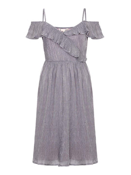Yumi Plisse Bardot Dress- Grey