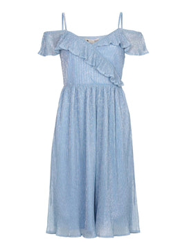Yumi Plisse Bardot Dress- Blue