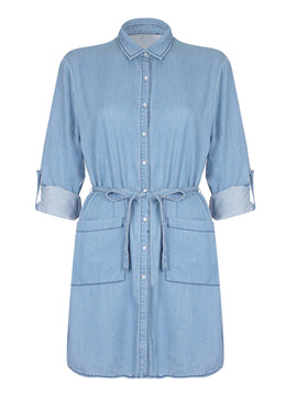 Yumi Yumi Denim Dress- Light Blue