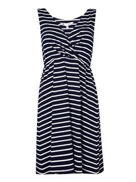 Yumi Yumi Stripe Wrap Front Sleeveless Dress- Blue