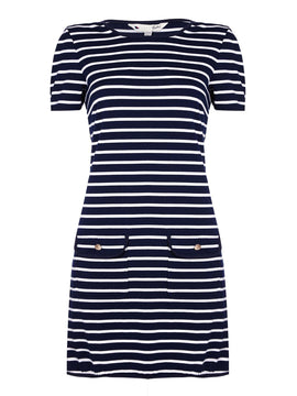 Yumi Yumi Stripe Print Day Dress- Blue
