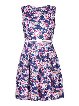Yumi Yumi Floral Print Belted Dress- Blue