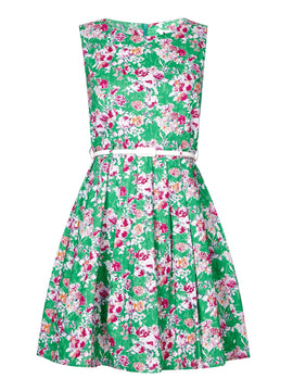 Yumi Yumi Floral Print Belted Dress- Green