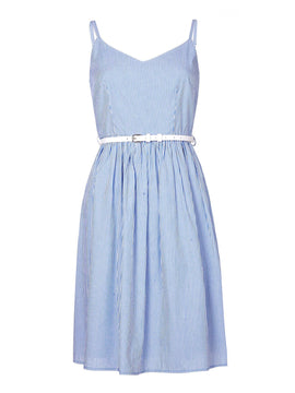 Yumi Yumi Stripe Belted Summer Dress- Blue