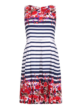 Yumi Yumi Stripe Floral Border Dress- Multi-Coloured