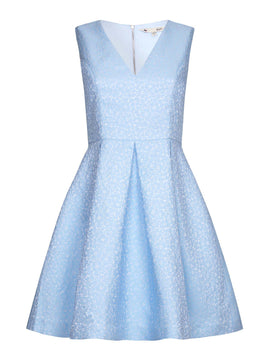 Yumi Yumi Jacquard Sleeveless Dress- Blue