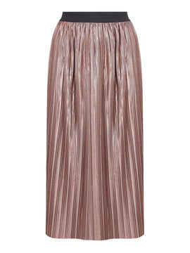 Yumi Crinkled Metallic Midi Skirt- Rose Gold