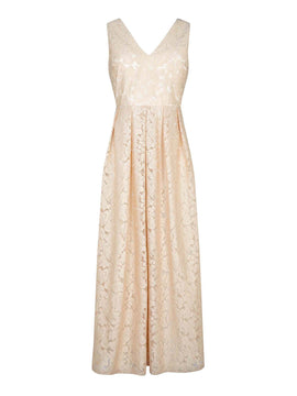 Mela London Embossed Leaf Maxi Dress- Light Gold