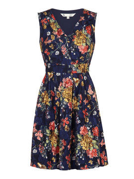 Yumi Curves Floral Printed Lace Dress- Blue