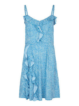 Yumi Frilled spot Print dress- Light Blue