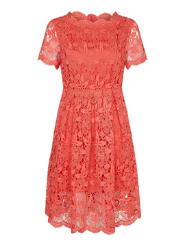 Yumi Guipure Floral Lace Dress- Red