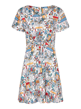 Yumi Retro Traveller Twisted Knot Dress- Multi-Coloured