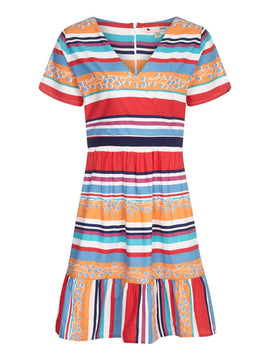 Yumi Vacation Stripe And Floral Dress- Multi-Coloured