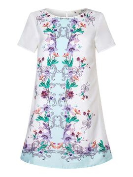 Yumi French Floral Print Tunic Dress- White