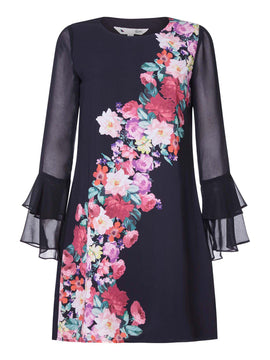 Yumi Foral WaterColour Tunic dress- Black