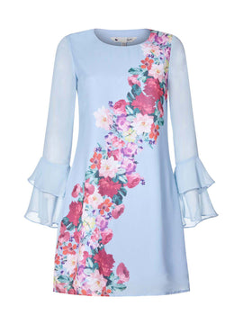 Yumi Foral WaterColour Tunic dress- Pale Blue