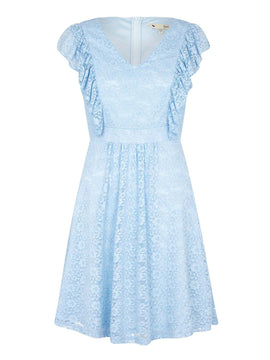 Yumi Lace Dress With Frilled Sleeves- Pale Blue