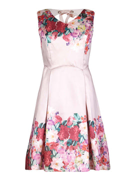 Yumi Mirrored Floral Teil party Dress- Light Pink