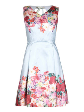 Yumi Mirrored Floral Teil party Dress- Pale Blue