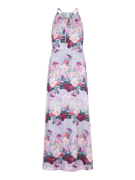 Yumi Watercolour Floral Print Maxi Dress- Multi-Coloured