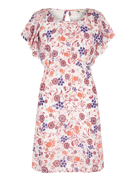 Yumi Swirled Floral Crinkled Dress- White