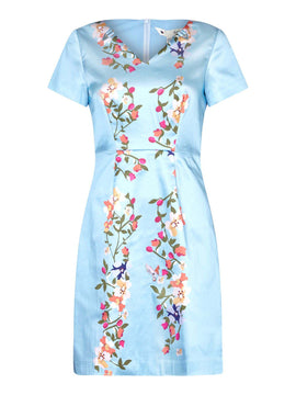 Yumi Flower Side Placement Satin Dress- Pale Blue