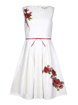 Yumi Bonded Lace Floral Embroidered Party Dress- White